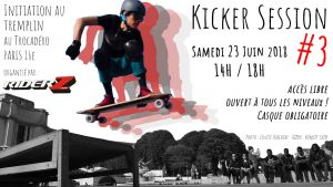 Kicker session longboard skate Riderz Paris