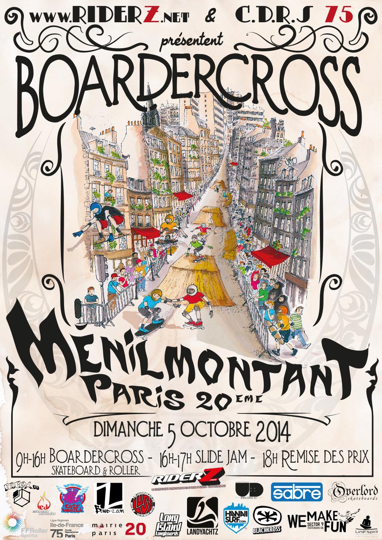 Affiche Boardercross Riderz Paris Ménilmontant 2014
