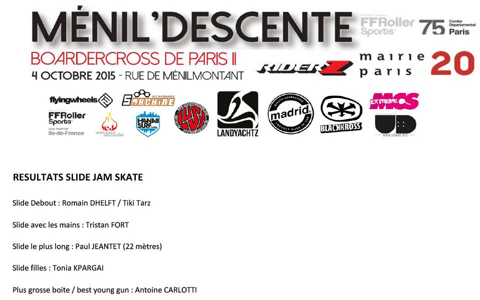 Résultats du Slide Jam Ménil'Descente Riderz 2015